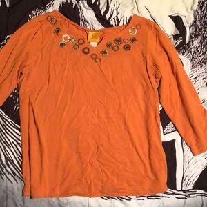 Cute  orange half sleeve top
